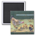 Hen and Chicks Art Nouveau Easter Square Magnet