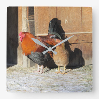 Hen and Rooster Rustic Chicken Kitchen Clock