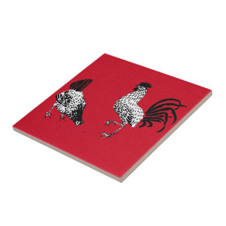 Hen and Rooster Tile