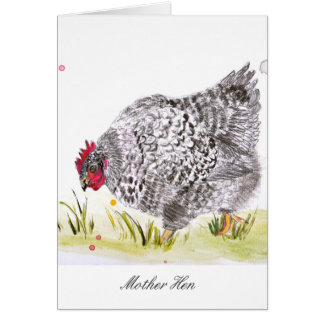 Hen chicken greeting card Mother's Day