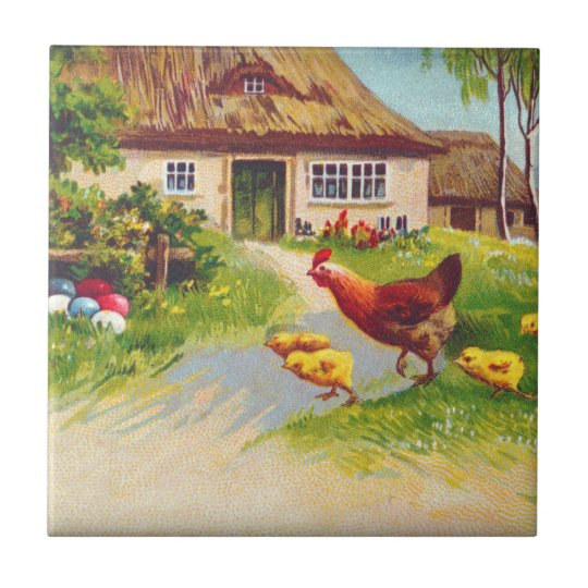Hen, Chickens and Easter Eggs Small Square Tile