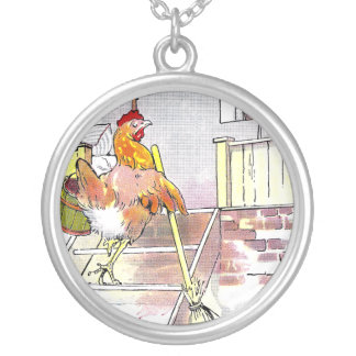 Hen with Broom Mounting Stairs to Bedroom Jewelry