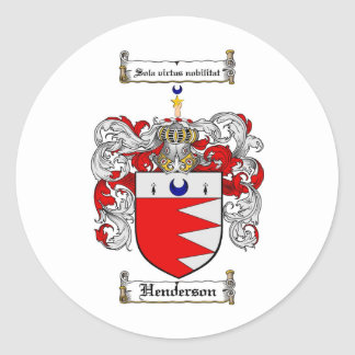 HENDERSON FAMILY CREST -  HENDERSON COAT OF ARMS ROUND STICKER