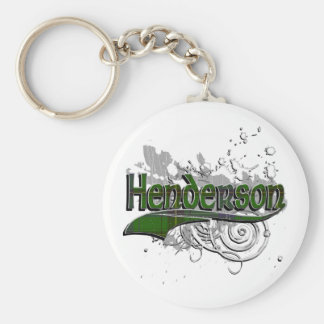 Henderson Tartan Grunge Basic Round Button Key Ring