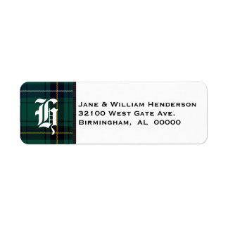 Henderson Tartan Plaid Monogram Address Labels
