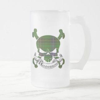 Henderson Tartan Skull Frosted Glass Beer Mug