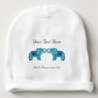Henna Elephant (Blue/Light Blue) Baby Beanie