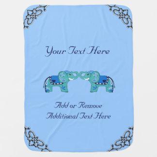 Henna Elephant (Blue/Light Blue) Baby Blanket
