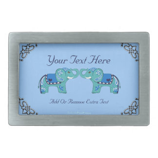 Henna Elephant (Blue/Light Blue) Belt Buckles