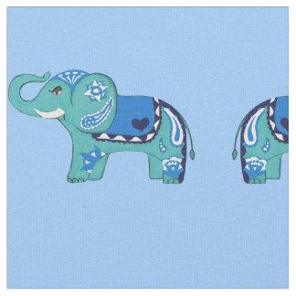 Henna Elephant (Blue/Light Blue) Fabric