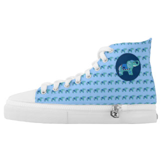 Henna Elephant (Blue/Light Blue) High Tops