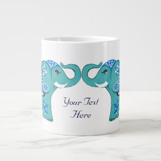 Henna Elephant (Blue/Light Blue) Large Coffee Mug