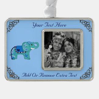 Henna Elephant (Blue/Light Blue) Silver Plated Framed Ornament