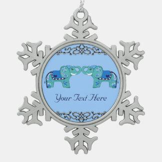 Henna Elephant (Blue/Light Blue) Snowflake Pewter Christmas Ornament