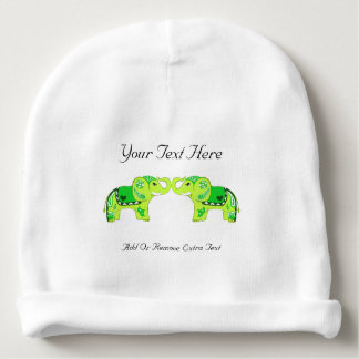 Henna Elephant (Green/Lime Green) Baby Beanie