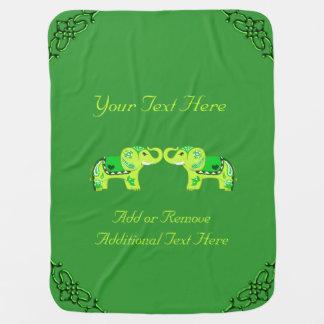 Henna Elephant (Green/Lime Green) Baby Blanket