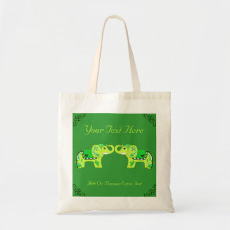 Henna Elephant (Green/Lime Green) Budget Tote Bag