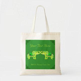 Henna Elephant (Green/Lime Green) Budget Tote Bag