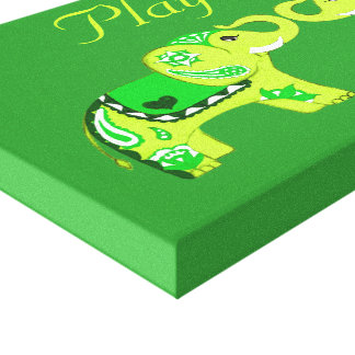 Henna Elephant (Green/Lime Green) Gallery Wrapped Canvas