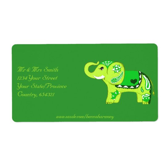 Henna Elephant (Green/Lime Green) Shipping Label