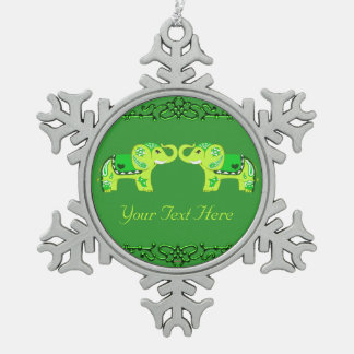 Henna Elephant (Green/Lime Green) Snowflake Pewter Christmas Ornament