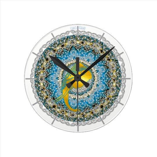 Henna Elephant Mandala Ganesha Mindfulness Clock