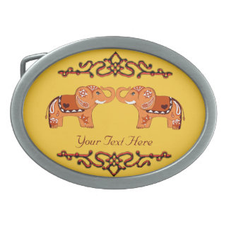 Henna Elephant (Orange/Red) Oval Belt Buckles