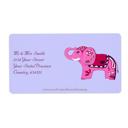 Henna Elephant (Pink/Purple)