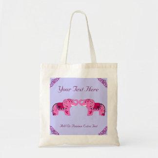 Henna Elephant Pink Purple Tote Bags