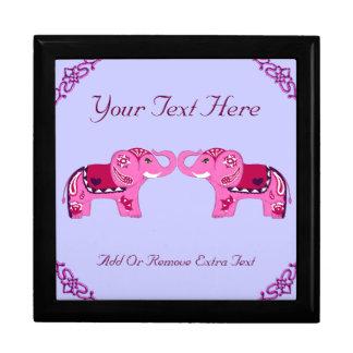 Henna Elephant (Pink/Purple) Large Square Gift Box