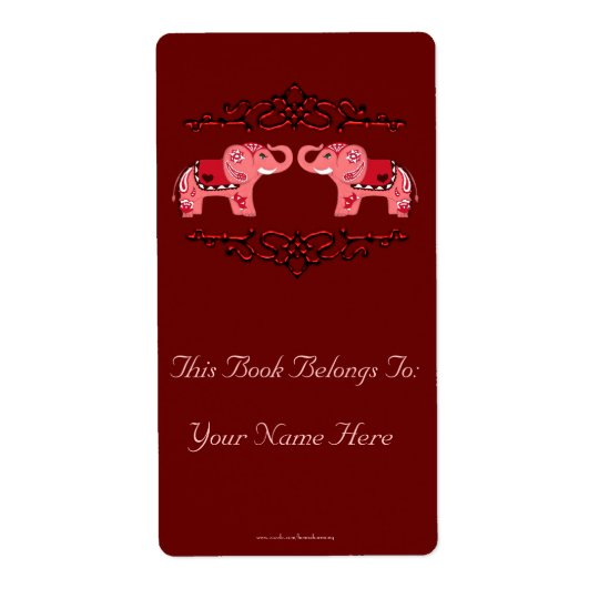 Henna Elephant (Red/Pink) Bookplate