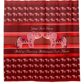 Henna Elephant (Red/Pink) Shower Curtain