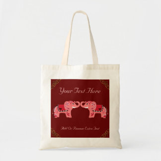 Henna Elephant (Red/Pink) Tote Bag