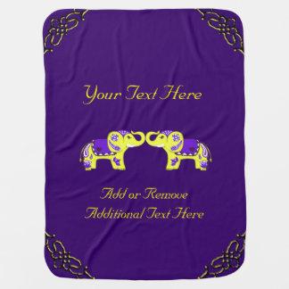 Henna Elephant (Yellow/Purple) Baby Blanket