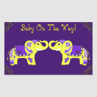 Henna Elephant (Yellow/Purple) (Baby Shower) Sticker