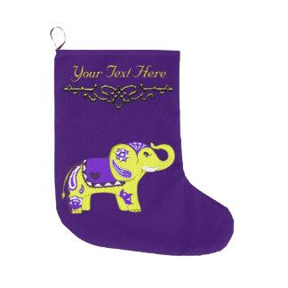 Henna Elephant (Yellow/Purple) Large Christmas Stocking
