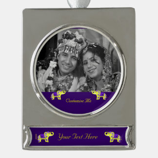 Henna Elephant (Yellow/Purple) Silver Plated Banner Ornament