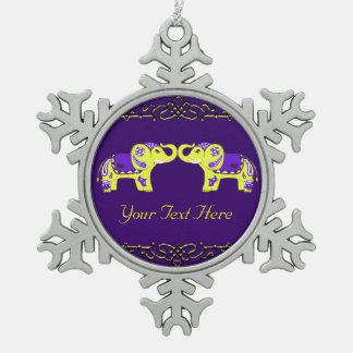 Henna Elephant (Yellow/Purple) Snowflake Pewter Christmas Ornament
