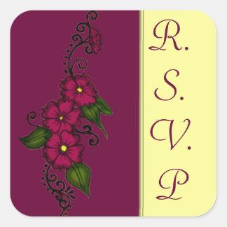 Henna Flower (Fuschia) Square Stickers