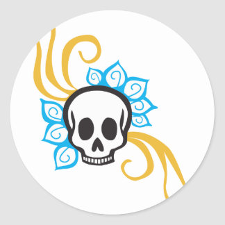 Henna Flower Pirate Skull Round Sticker