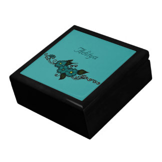 Henna Flower (Teal) Large Square Gift Box
