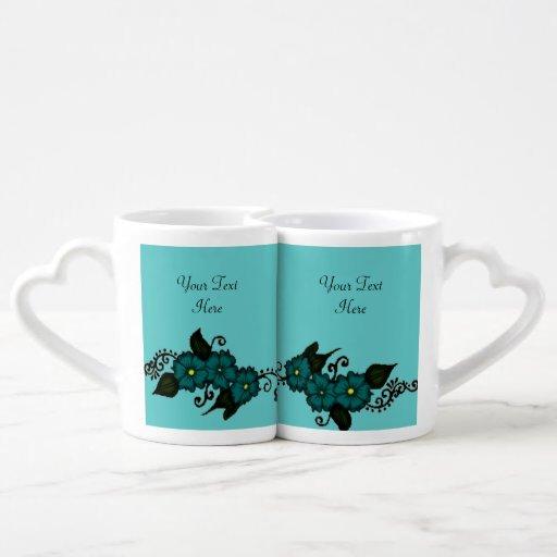 Henna Flower (Teal) Lovers Mug Set
