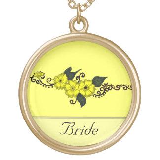Henna Flower (Yellow) Round Pendant Necklace