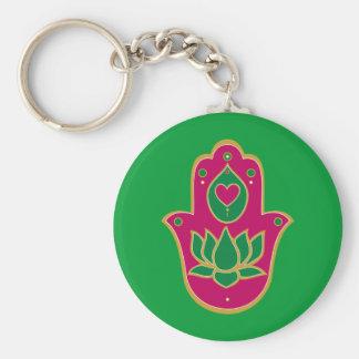 Henna Hamsa Lotus Green & Pink Key Ring