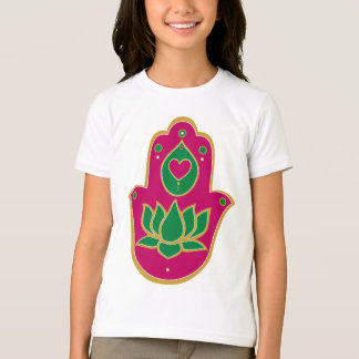 Henna Hamsa Lotus Green & Pink T-Shirt