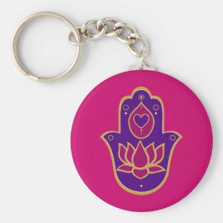 Henna Hamsa Lotus Pink Key Ring