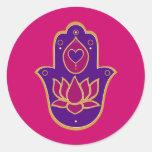 Henna Hamsa Lotus Pink Round Sticker
