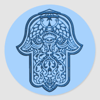 Henna Hand of Hamsa (Blue) Classic Round Sticker
