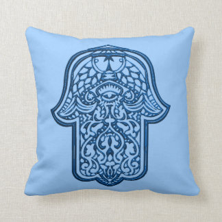 Henna Hand of Hamsa (Blue) Throw Pillow