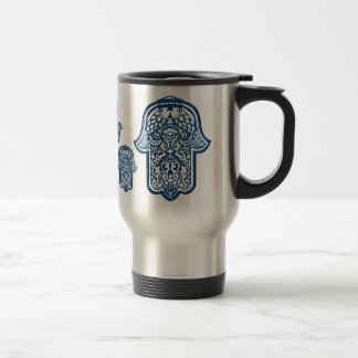 Henna Hand of Hamsa (Blue) Travel Mug